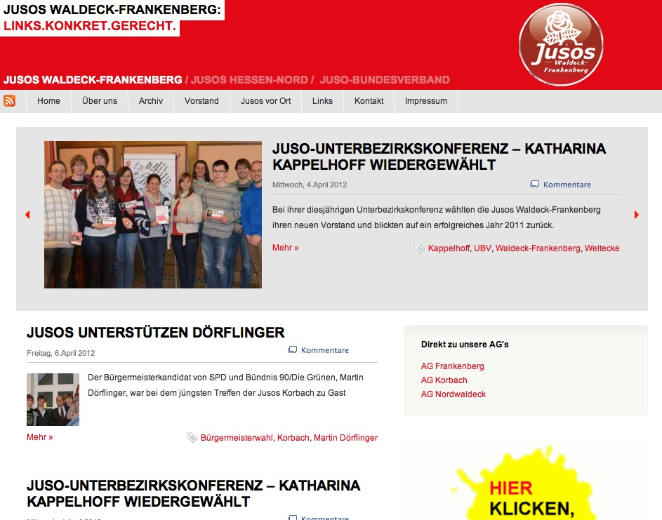 Homepage Relaunch bei den Jusos